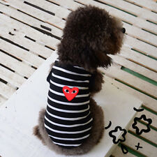 Fashion Pet Puppy Red Love Heart Pet Puppy Dog Cat Clothes Stripe T-shirt