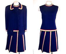 ST ANDREWS 60s 70s 3pc Suit Vtg Navy Blue Wool Knit w Striped Trim S