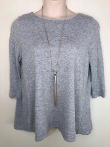 COS grey marl stretch swing hilo hem tunic top 3/4 sleeve size large
