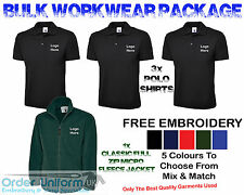 Personalised Embroidered Work Wear Package Full Zip Fleece Polo Shirt Tshirt
