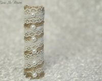 DIY Burlap Lace and Pearl Rustic Bride Wedding Bouquet Handle Holder NEW