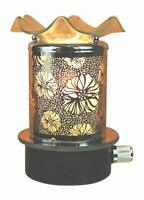 Clear Floral Plug in No Cord Oil Wax Melts Warmer Burner Night Light Aroma Lamp