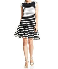 Betsy & Adam Dress Sz 6 Black Ivory Cap Sleeve Ombre Evening Cocktail Party Dres