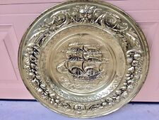 """Brass Plated Plate 22.5"""" Mayflower Ready to Hang."""