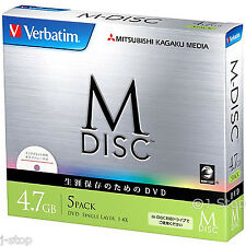 1000 Years Data Archival Verbatim M-DISC 4.7GB DVD-R 4x Inkjet Printable DVD x 5