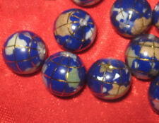 WHOLESALE LOT OF 8 -12 MM BLUE GEMSTONE INLAY WORLD GLOBES GLOBE BEADS