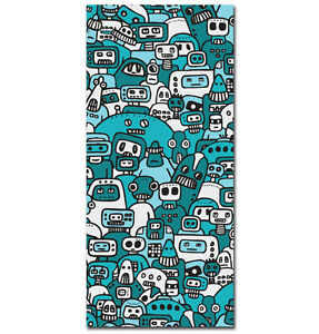 ~Robot Mob - 20cm x 50cm - Urban Graffiti Canvas. Kidrobot, street monster~