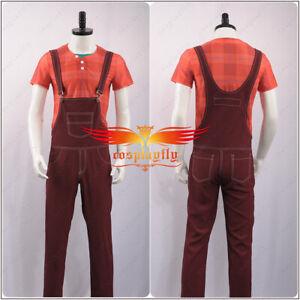 Men Costume Wreck-It Ralph 2 Cosplay Costume Plaid Shirt Vest Overalls In Stock