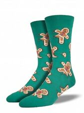 Holiday Christmas Funny Gingerdead Cookie Casual Sock Men's Size 8-13 Green