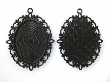 10Pcs Black Frame 30x40mm Oval Alloy Cameo Bezel Setting Cabochon Pendant Trays
