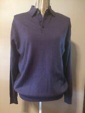 Alan Flusser Classic Small Purple Grape Merino Wool Sweater NWT