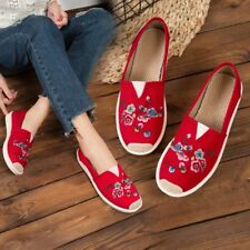 Womens Chinese Style Embroidered Flower Loafers Canvas Flats Heel Ethinic Shoes