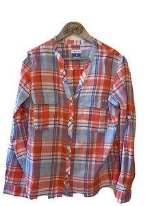 Columbia PFG Size L Womens Orange Blue Plaid Cotton Long Sleeve Button Shirt NWT
