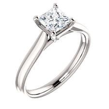 10k White Gold Setting Semi Mount Ring Princess Cut Diamond 4 Four Prong Head