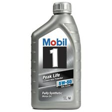 2 x Mobil 1 Peak Life 5W-50 Fully Synthetic 1L Car Engine Oil Lubricant 151446