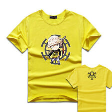 Anime One Piece Trafalgar Law Cotton Shirt Short Sleeve T-shirt Clothes Clasual