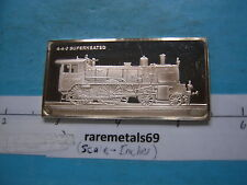 1.9 OZ LOCOMOTIVE 440 SUPERHEATED 1910 SILVER ART BAR RARE COOL