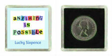 GOOD LUCK LUCKY SILVER SIXPENCE COIN BIRTHDAY GIFT FRIEND COLLEAGUE WIFE EXAMS
