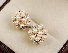 18K Rose Gold Gp Austrian Pearl Studs Party Wedding Ear Jewelry Earring BR209