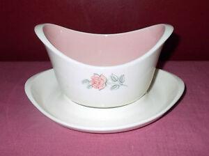 Vintage Harmony House USA CRINOLINE GRAVY BOAT with UNDERPLATE 4550 Pink Rose +