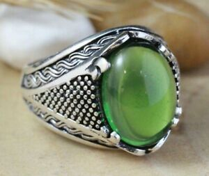 Turkish Emerald Men's Ring 925 Sterling Silver Handmade Authentic Size 7-11