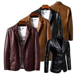 Mens Faux Leather Blazer Jacket Casual PU Suit Coat Soft Leather Coat Outwear