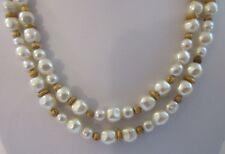 Talbots Jewelry NECKLACE Faux Pearl Gold Double Strand Beaded