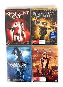 Resident Evil Movies Apocalypse Afterlife Extinction DVD Region 4 Free Postage