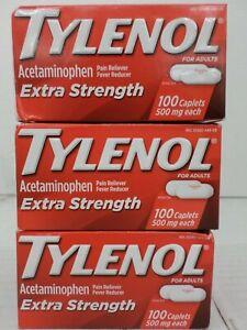 3 TYLENOL FOR ADULTS EXTRA STRENGTH 100 CAPLETS EACH 500mg EXP 5/22+ TT 3655
