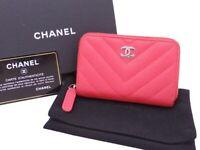 CHANEL V Stitch Chevron Coin Change Purse Dark Pink Caviarskin *USED* - e42566