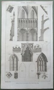 1809 Gothic Architecture Windows Doors Antique Print Copper Plate Engraving