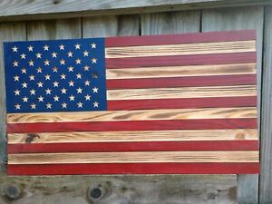 American Wooden Flag 13x23 burnt wooden natural,red stripes Free shipping USA 2B