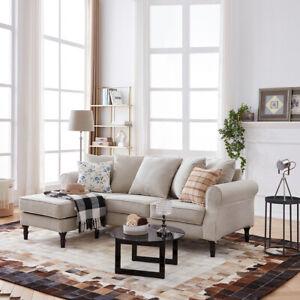 Modern L Shape 3 Seater Fabric Corner Sofa Couch Lounge Chaise w Storage Ottoman