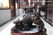 Chinese Pure Bronze Feng Shui Two Bei Jing Door Fu Foo Dogs Lion play statuary