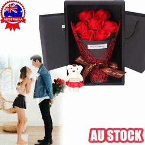 Mother's Day 7 Flowers Soap Flower Rose Box Bear Bouquet Festival Gifts AN
