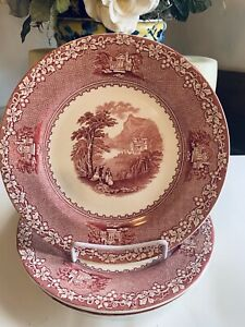 4 Royal Staffordshire Jenny Lind 1795 Dinner Plates Red Transferware 10""
