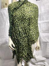 New Leopard Pattern Pashmina Silk Cashmere Shawl Scarf Stole Wrap Green & Black