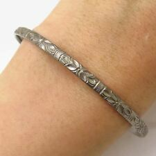 """Antique Sterling Silver Thin Floral Cuff Bracelet 7.5"""""""