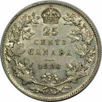 1928 CANADA TWENTY FIVE CENTS - VERY NICE XF COLLECTOR COIN!-d254dxnx