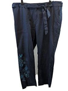 NWT VENEZIA WOMEN'S SIZE 18 BLUE FLORAL COTTON PANTS SLACKS