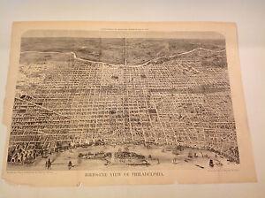 1872 RARE LARGE BIRD'S EYE VIEW PHILADELPHIA, PA 22 X 33 HARPER'S WEEKLY
