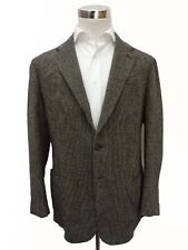 Stile Latino Sport Coat: 41R/42R Black & white weave, 2-button, wool