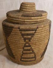 Very Good Tall Native Am. Tohono O'odham Covered Sewing Basket