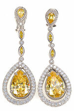 Judith Ripka 14.65 Carats Yellow CZ Diamonique Drop Dangle Sterling Earrings