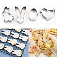 4Pcs 3D Easter Cookie Baking Cutter Spring Mold Biscuit Mould Cake Decor Metal