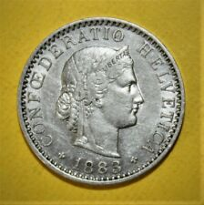 Switzerland 20 Rappen 1883-B Extremely Fine + Coin