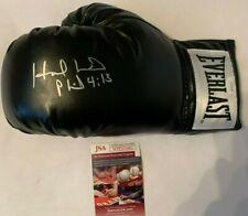 Evander Holyfield Autographed Everlast Black Boxing Glove JSA Witnessed COA