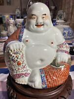 Antique Chinese Famille Rose Happy Buddha Statue