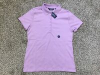 NWT Lands End Women's Pink Amethyst Soft Pima Polo Shirt Blouse Top Size S