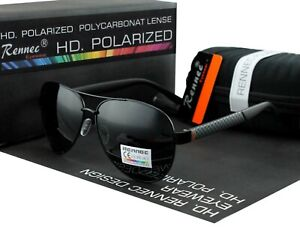 Rennec Herren Sonnenbrille Polarisiert Metal 100% UV 400 Pilotenbrille Schwarz